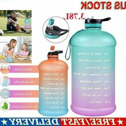 1 Gallon/128oz Motivational Sport Water Bottle with Time Mar