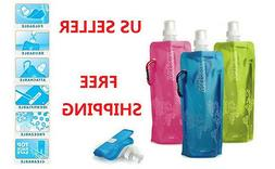 1-Pack Colorful BPA Free 16oz Collapsible Blue Water Bottle