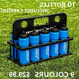 10x Water Bottles + Carrier | 9 COLORS - BPA Free Plastic -