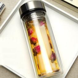 300ml Double Wall Glass Water Bottle Tea Cup Mug BPA Free wi
