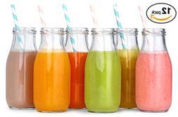12 Pack - 11 Oz Glass Milk Bottles, 24 Metal Twist Lids and