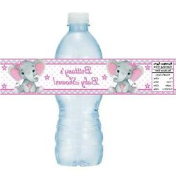 12 Elephant Baby Shower Birthday Party Water Bottle Sticker