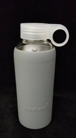 Bonison 14 oz. Durable Glass Water Bottle with Soft Gray Sil