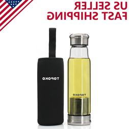 18.5 Ounce Top Level Quality Infuser Glass Water Bottle wih