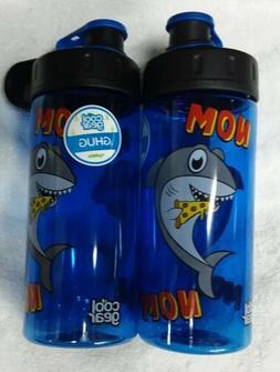 """2 Lot: Cool Gear """"NOM NOM"""" Pizza Shark 16 Oz BPA Free Wa"""