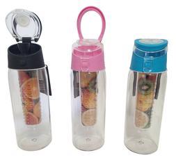 24 Oz Fruit Infuser Sport Water Bottle - BPA Free - Ships