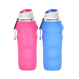 2 Pack Collapsible Water Bottle 20 Ounce Foldable Travel Bac