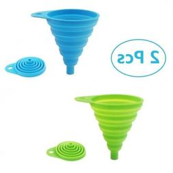 2 Pack Silicone Collapsible Funnel,Foldable/Kitchen Funnel f