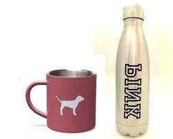 2 pcs Victoria's Secret PINK silver bottle and dog mug brand