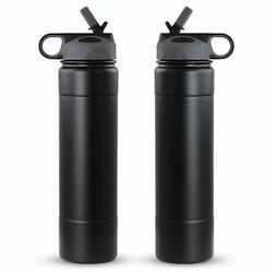 2 x Stainless Steel Water Bottles Straw Vacuum Double Wall 2