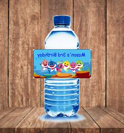 20 Baby shark personalized birthday party water bottle label