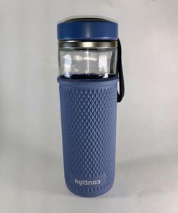 Contigo 20 oz. Evoke Quick-Twist Lid Glass Water Bottle Blue