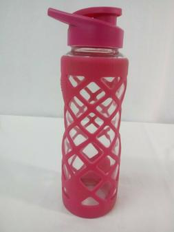 SWIG SAVVY 25oz Glass Water Bottle - Protective Pink Silicon