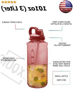 3 Liter BPA Free Large Sports Water Bottle 100 oz. Handle+ S