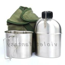 3 Patterns Stainless Steel Military Canteen+Green Patrol Wat