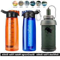 3-Stage Portable Water Filter Straw Bottle Purifier Camping