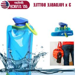 3 x Collapsible Water Bottle Reusable Folding Ice Bag Pouch