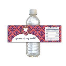 30 Blue Coral Bridal Shower Water Bottle Labels Stickers Afr