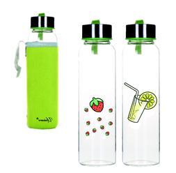 Uniware 300ml BPA Free Borosilicate Glass Water Bottle with