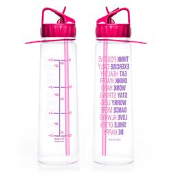 30oz Inspirational Fitness Workout Sports Water Bottle with