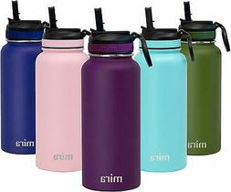 MIRA 32 oz Stainless Steel Water Bottle with Straw Lid | Vac