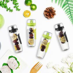 New 32oz Infuser Water Bottle Sport Fruit Bottle Flip Top Li