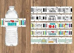 35 WATER BOTTLE LABELS Over the Hill - Personalized Birthday
