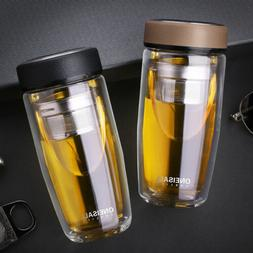 380mL Double Wall Glass Water Bottle Tumbler with Tea Infuse