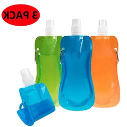 3Pack Water Bottles Flexible Collapsible Foldable Reusable I