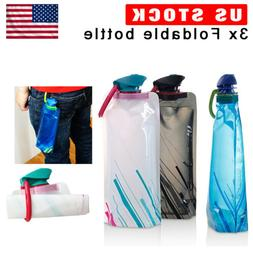 3 Pack Foldable Water Bottle Reusable Collapsible Outdoor Sp