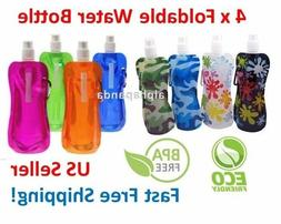 4 x Flexible Collapsible Foldable Reusable Water Bottles Ice