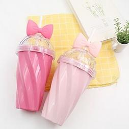 400ML Travel Portable Bow Cup with Straw Sport Plastic Fruit