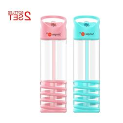 2 Pack Simple HH 430ml Sports Water Bottle with Flip Cap and