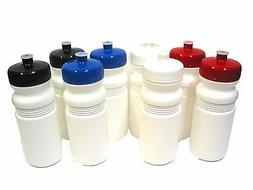 50 Biker Sports Water Bottles Red White Blue Black Caps Made