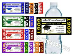 20 GRADUATION WATER BOTTLE LABELS FOR PARTY FAVORS - Glossy