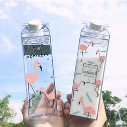 500ml Flamingos Cartoon Water Milk Box Drink Bottle Cup Outd