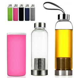 550ml BPA Free Glass Sport Water Bottle with Tea Filter Infu