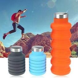 550ML Silicone Foldable Water Bottle Gym Camping Travel Drin