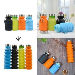 550ml Silicone Sports Cup Outdoor Retractable Water Bottle P