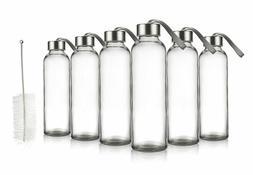6 Pack Clear Glass Water Bottle Screw-on Leak Proof for Trav