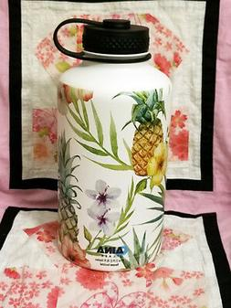 64 oz  Vacuum Insulated  water bottle flask Tropical Print H