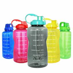 64oz/128oz Portable Drinking Straw Motivational Water Bottle