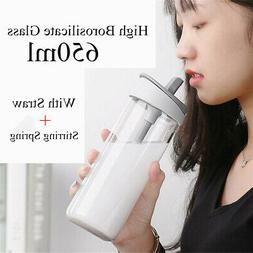 650ml Straw Glass Water Bottle Office Sport Travel Mug With