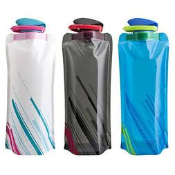 700ml Reusable Foldable Collapsible Water Bottle Camping Hik
