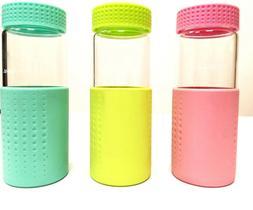 7098 Glass Sports Water bottle 450ml,BPA Free,Green/Blue/Pin