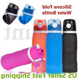 750ml portable collapsible silicone travel foldable water