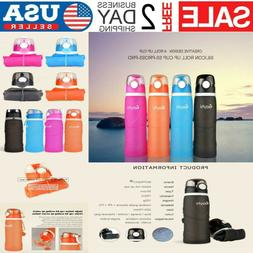 750ml Silicone Collapsible Sports Bottle Leakproof Lightweig