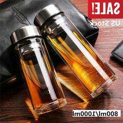 800/1000ML Glass Water Bottle Double Walled Travel Office Mu