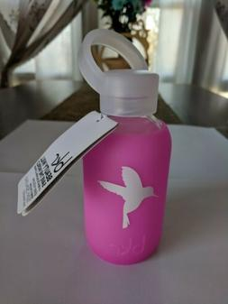 BKR 8oz 250ml *Glass Water Bottle Baby Pink w/ Hummingbird *