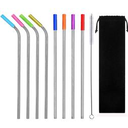 """8PCS 10.5"""" Stainless Steel Drinking Straws Reusable w/1 Brus"""